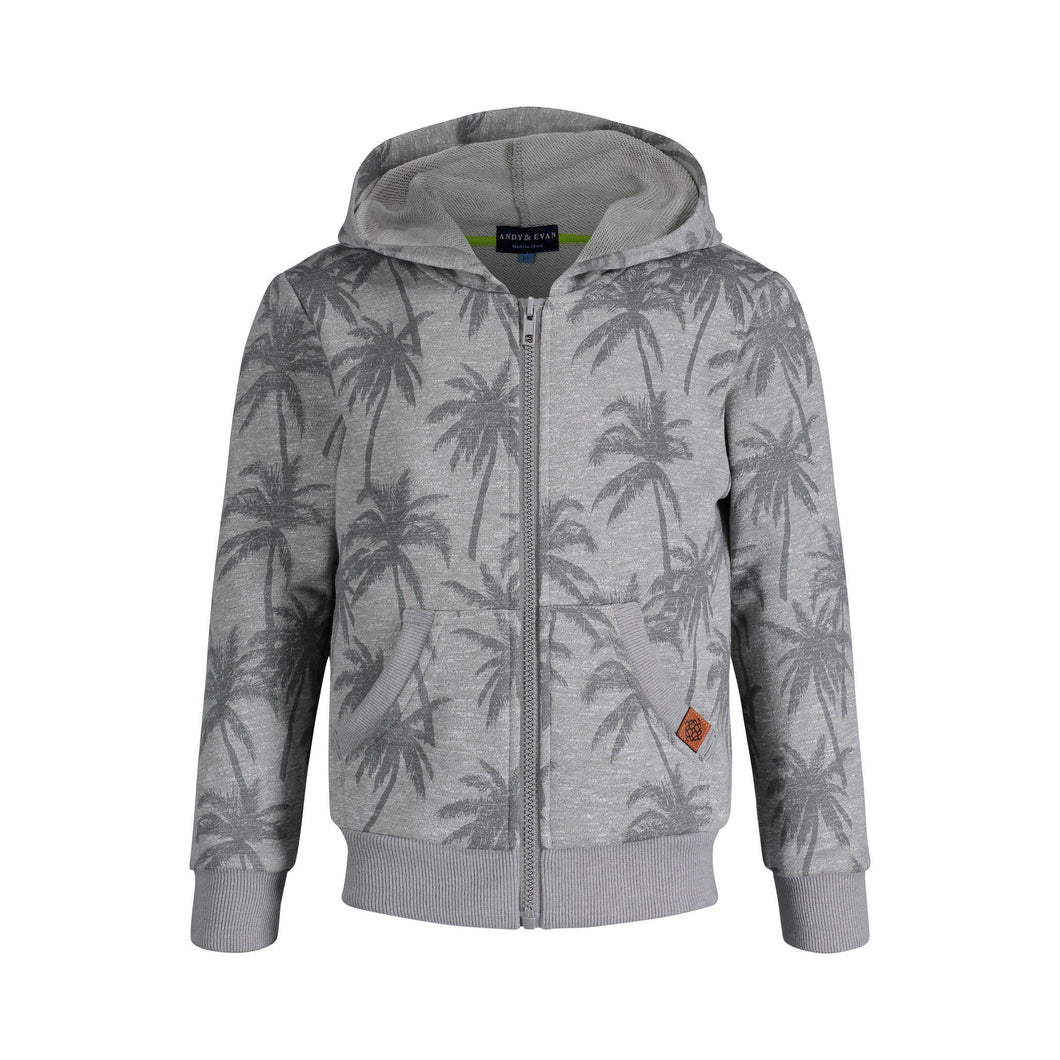 Grey Palm Print French Terry Hoodie - Andy & Evan