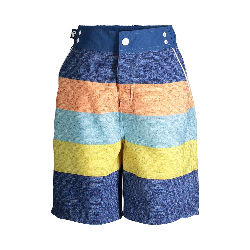 UPF 50 Navy Striped Swim Trunks (Fabric recommended by The Skin Cancer Foundation) - Andy & Evan