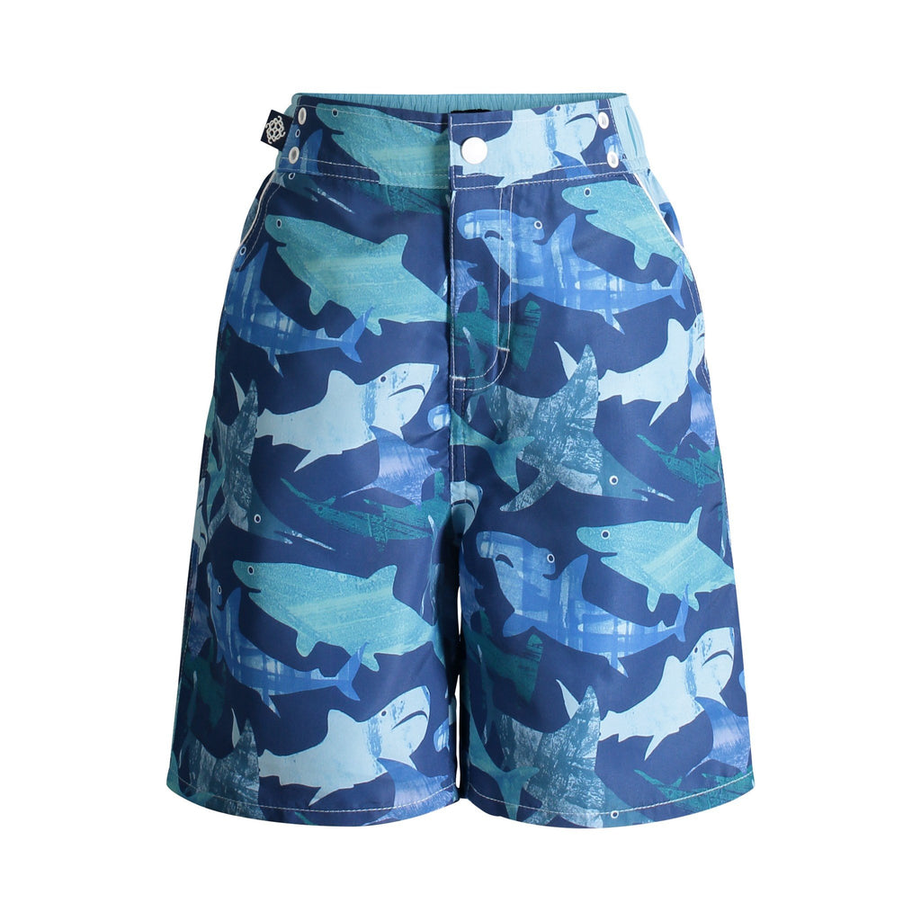 UPF 50 Navy Shark Swim Trunks  (Fabric recommended by The Skin Cancer Foundation) - Andy & Evan