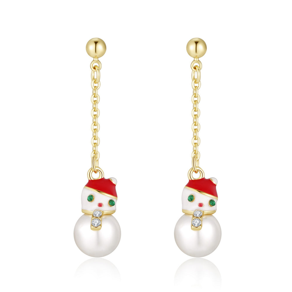 Snowman On Chain Holiday Earrings - Andy & Evan