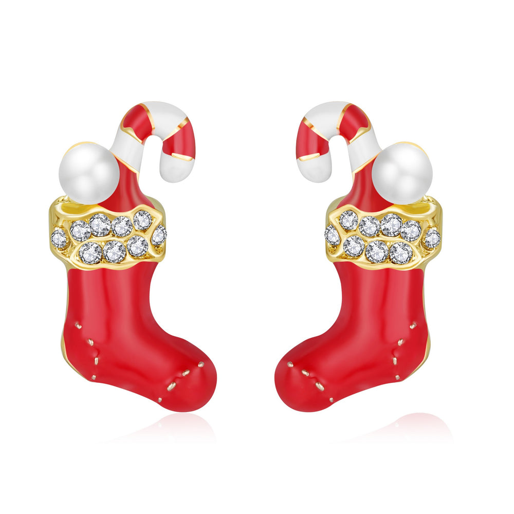 Candy Cane Stocking- Holiday Earrings - Andy & Evan