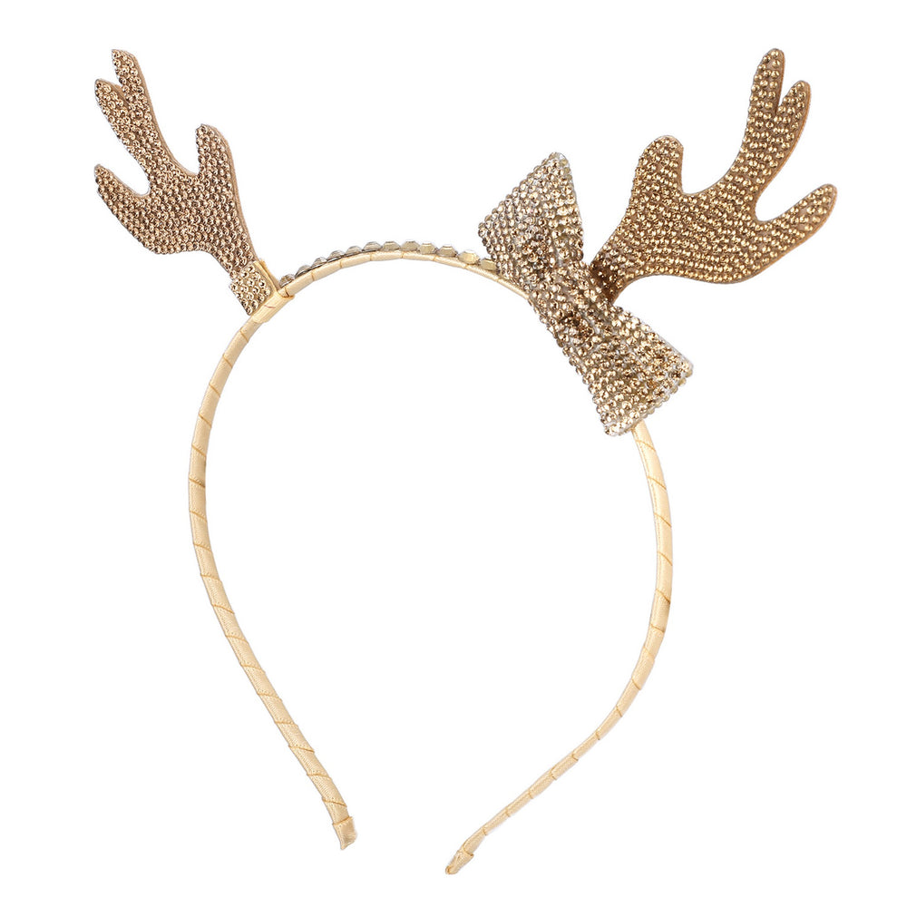 Girl's Holiday Headband - Gold Antlers - Andy & Evan