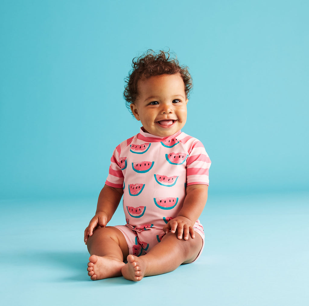 UPF 50 Pink Rashgaurd Romper (Fabric recommended by The Skin Cancer Foundation) - Andy & Evan