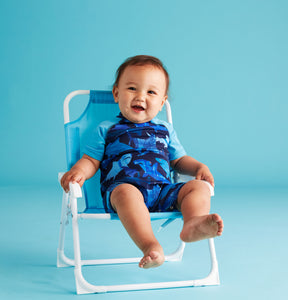 UPF 50 Blue Swim Romper (Fabric recommended by The Skin Cancer Foundation) - Andy & Evan
