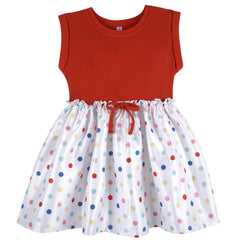 Red T-Shirt Dress with Dot Skirt