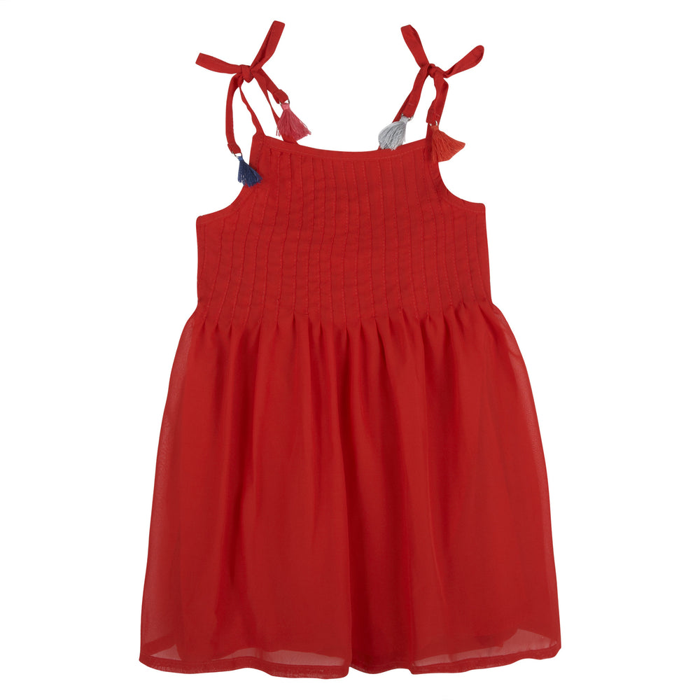 Red Voile Dress with Tassle Details - Andy & Evan