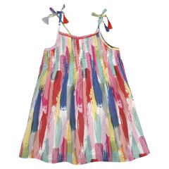 Brush Stroke Print Voile Dress with Tassle Details