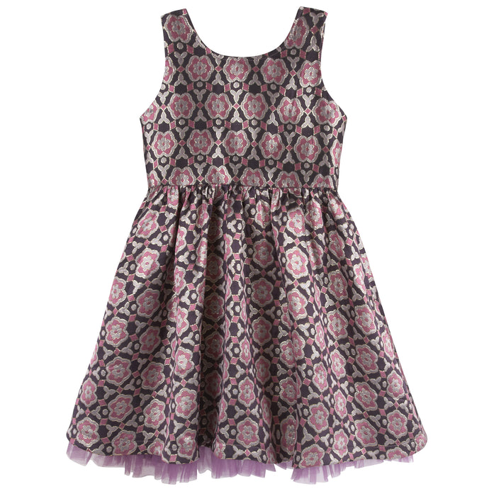 Maroon Brocade Party Dress - Andy & Evan