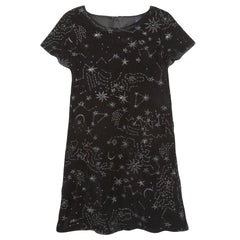 Black Galaxy Embroidery Dress