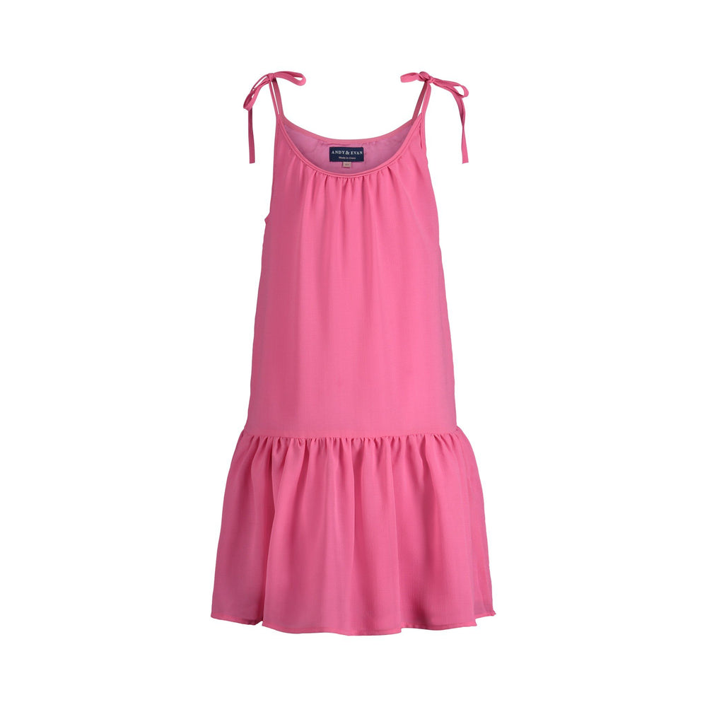 Flowy Pink Gathered Dress - Andy & Evan