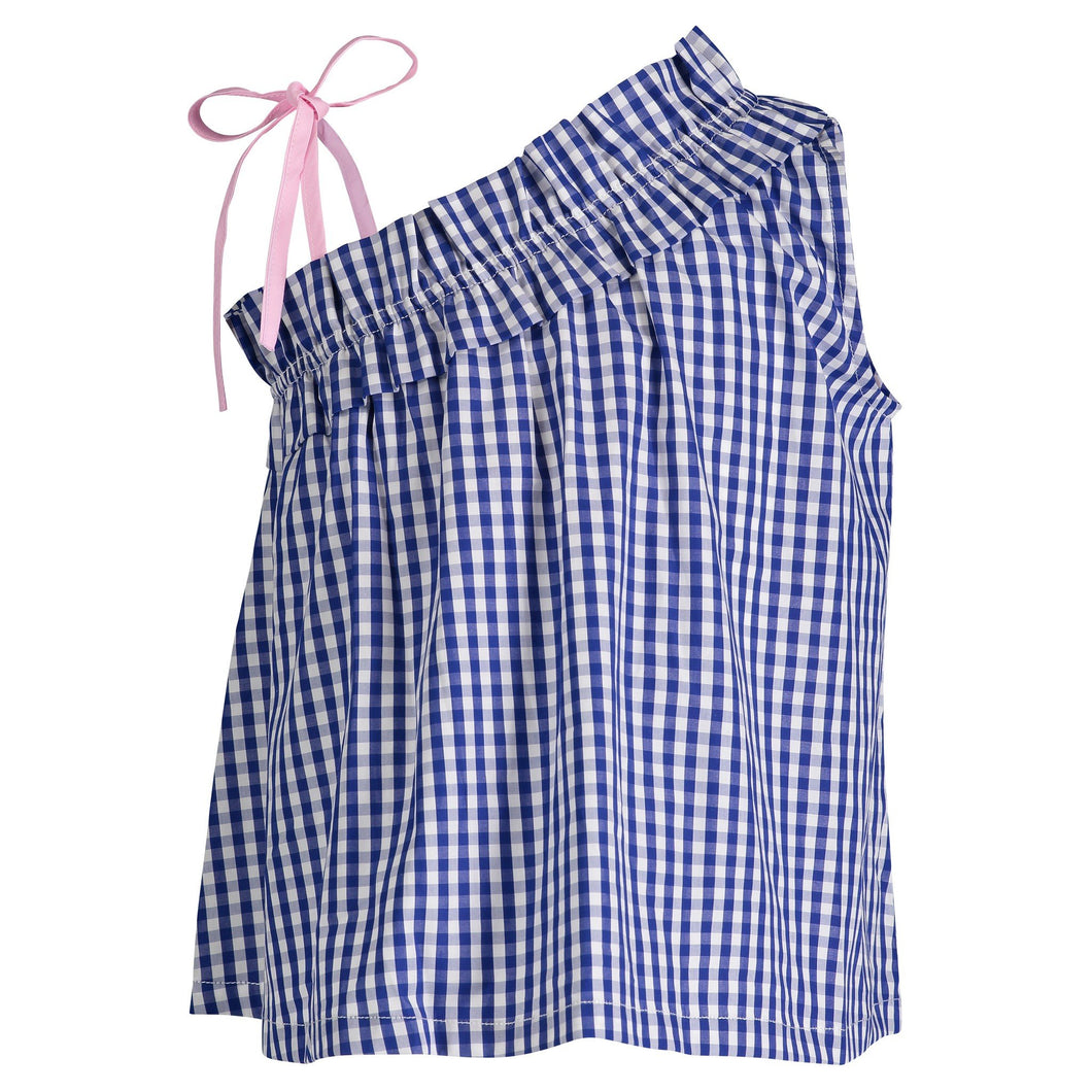 Blue Gingham Ruffle Tank - Andy & Evan