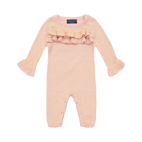 Rose Quartz Ruffle Sweater Romper with Black & Gold Lurex