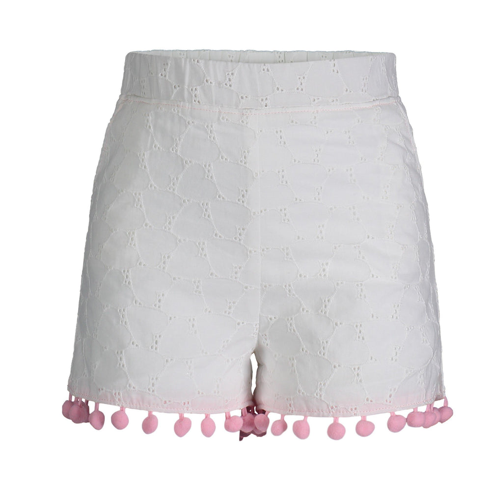 Pom-Pom Trim White Eyelet Shorts - Andy & Evan