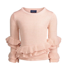 Rose Quartz Ruffle Sweater with Black & Gold Lurex