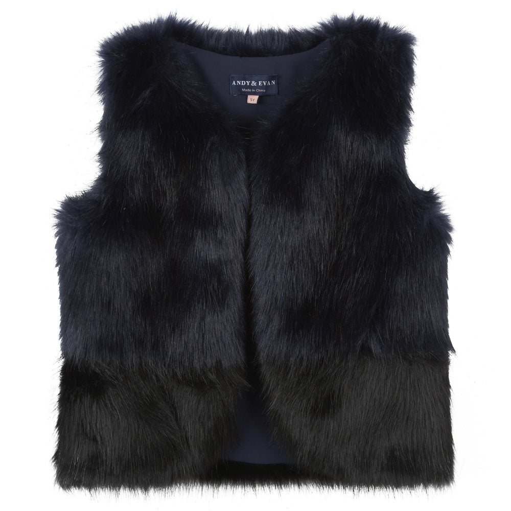 Navy Fur Vest - Andy & Evan