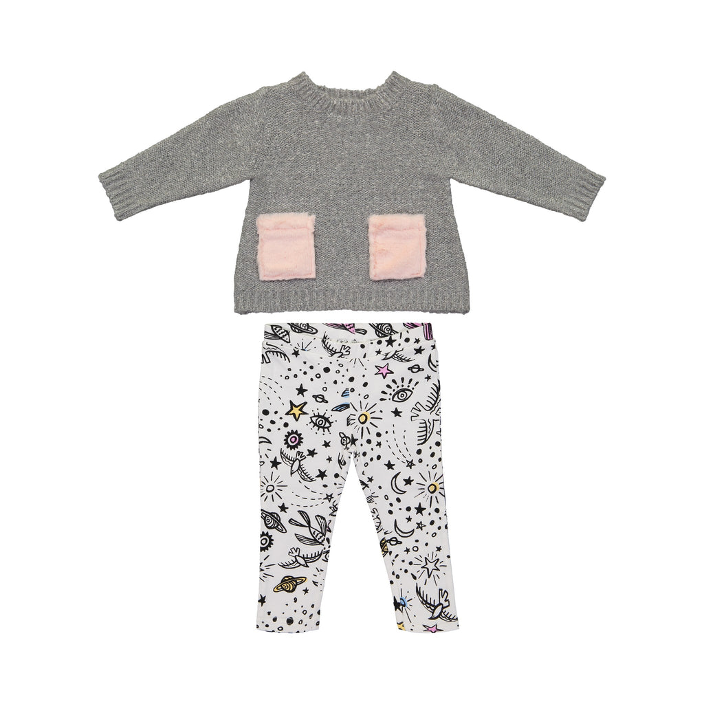 Shimmer Grey Top and Graphic Print Leggings Set - Andy & Evan