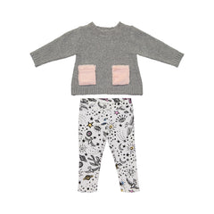 Shimmer Grey Top and Graphic Print Leggings Set