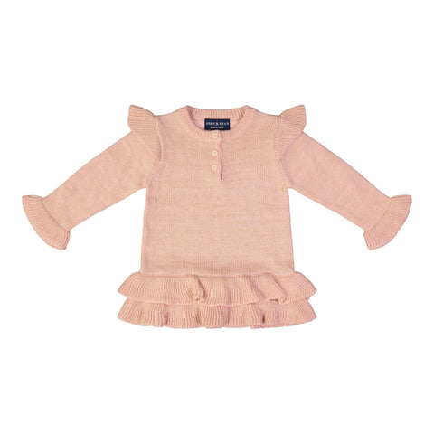 Rose Quartz Ruffle Sweater with Black Sparkle Legging Set