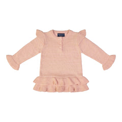 Rose Quartz Ruffle Sweater Set with Black Sparkle Legging