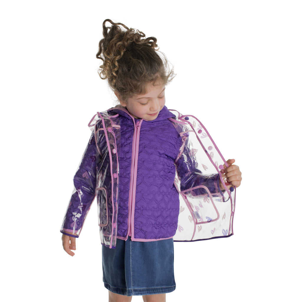 Infant Girls Purple Hearted Peek-Through Jacket - Andy & Evan