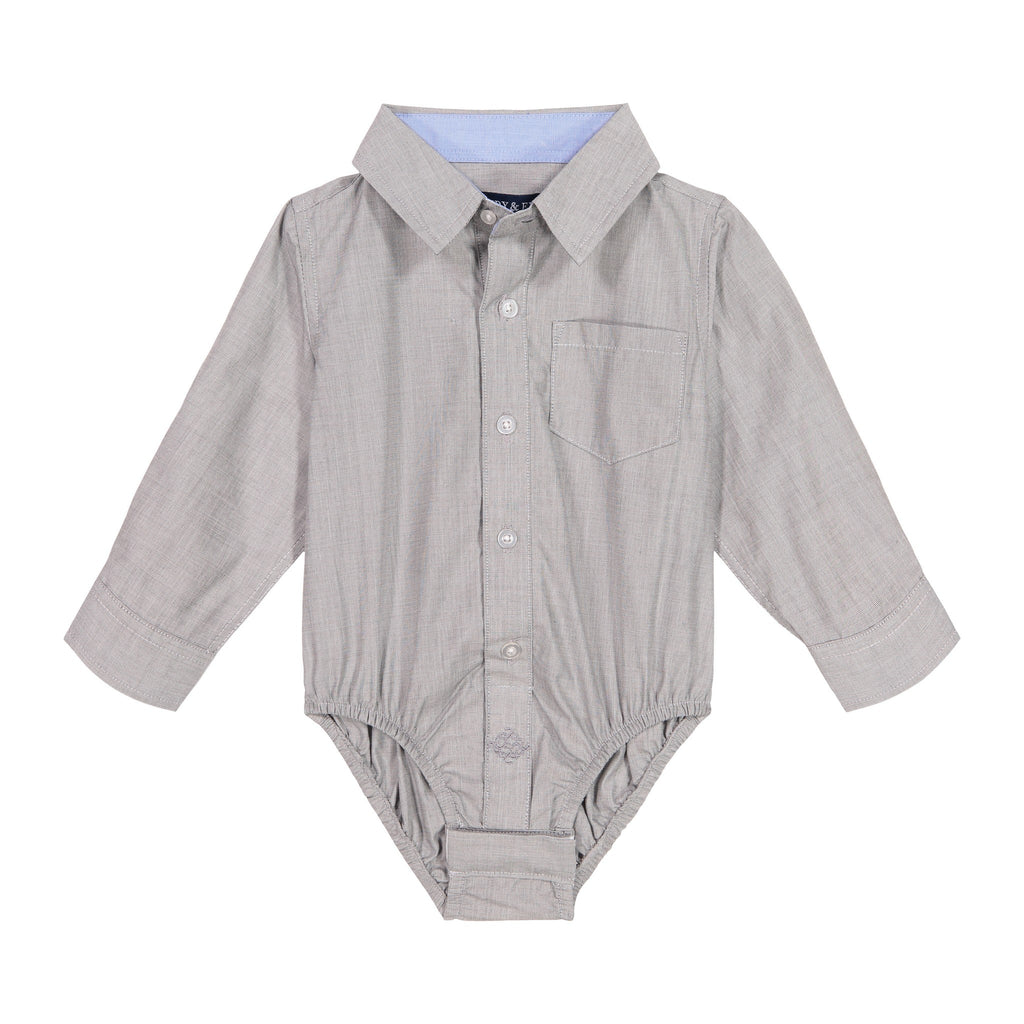Infant Boy Grey Chambray Button-down - Andy & Evan