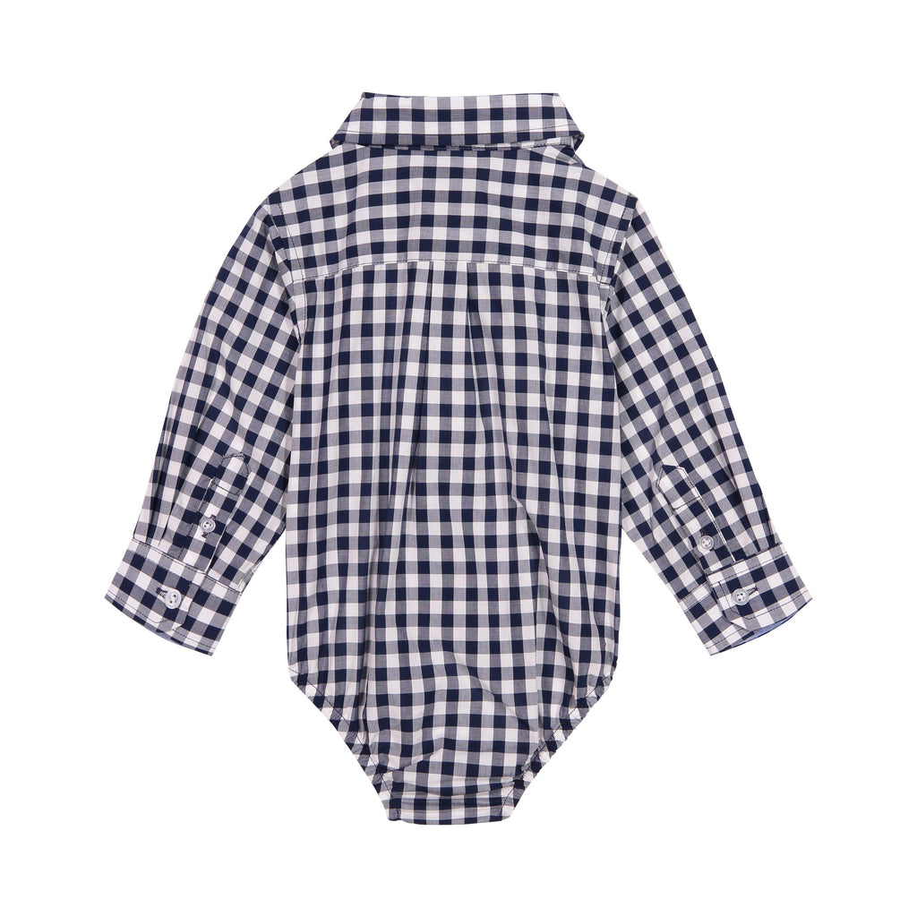 Infant Boy Navy Gingham Button-down - Andy & Evan
