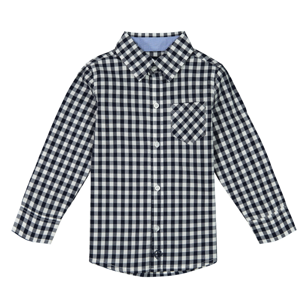 Boys Navy Gingham Button Down Shirt - Andy & Evan