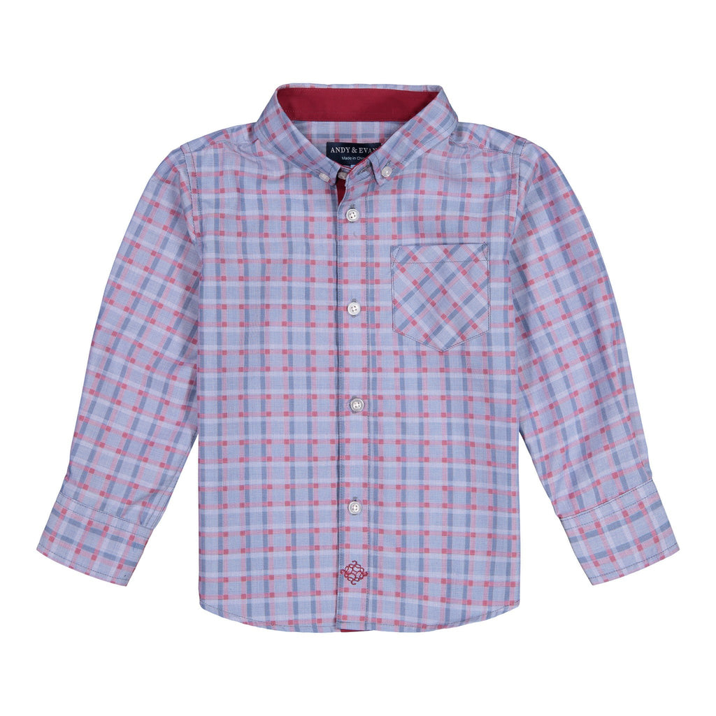 Blue Chambray Check Button-down - Andy & Evan