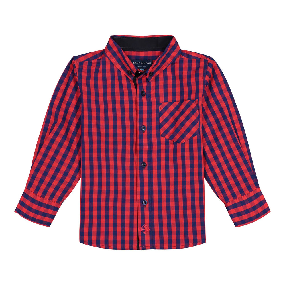 Infant Boy Red Buffalo Check Button-down - Andy & Evan
