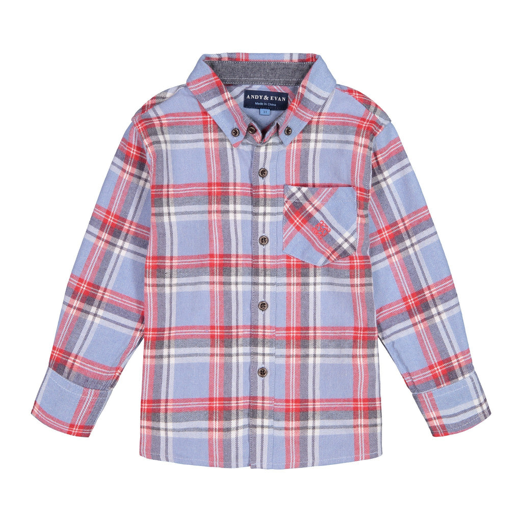 Light Blue & Maroon Flannel Button-down - Andy & Evan