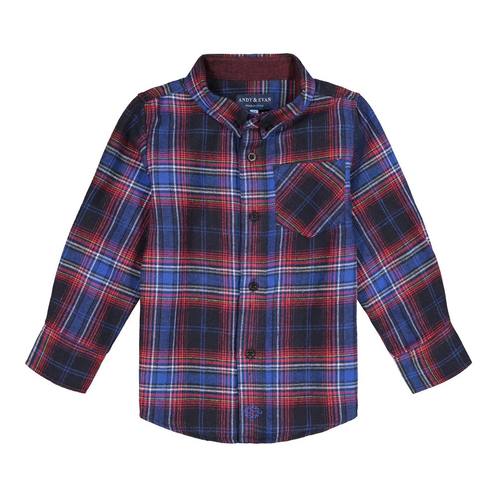 Blue Flannel Button-down - Andy & Evan