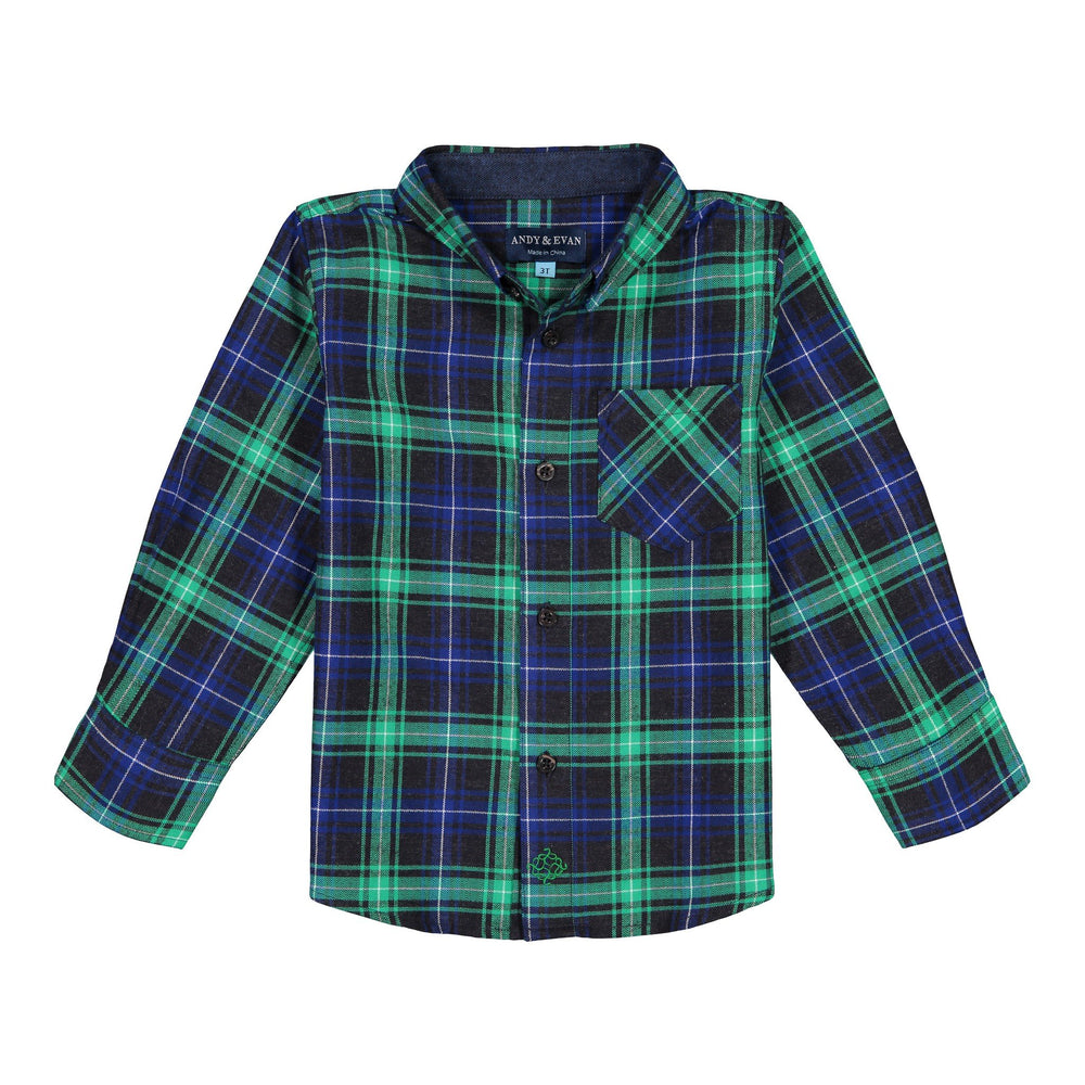 Green Flannel Button-down - Andy & Evan