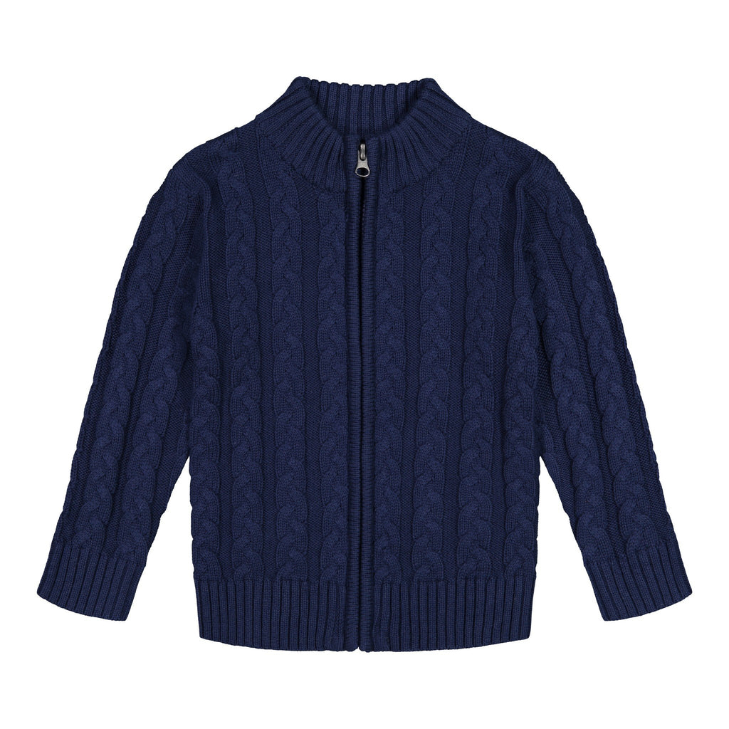 Navy Cable Zip Sweater - Andy & Evan