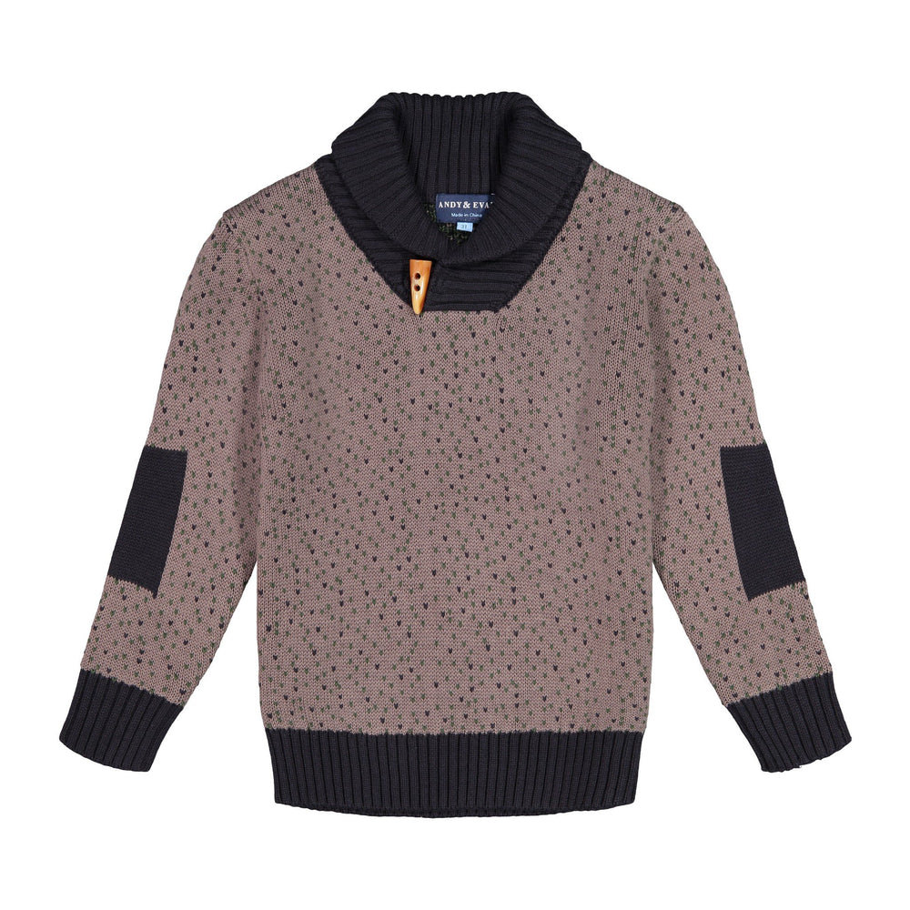 Hunter/Charcoal Pullover Shawl Sweater - Andy & Evan