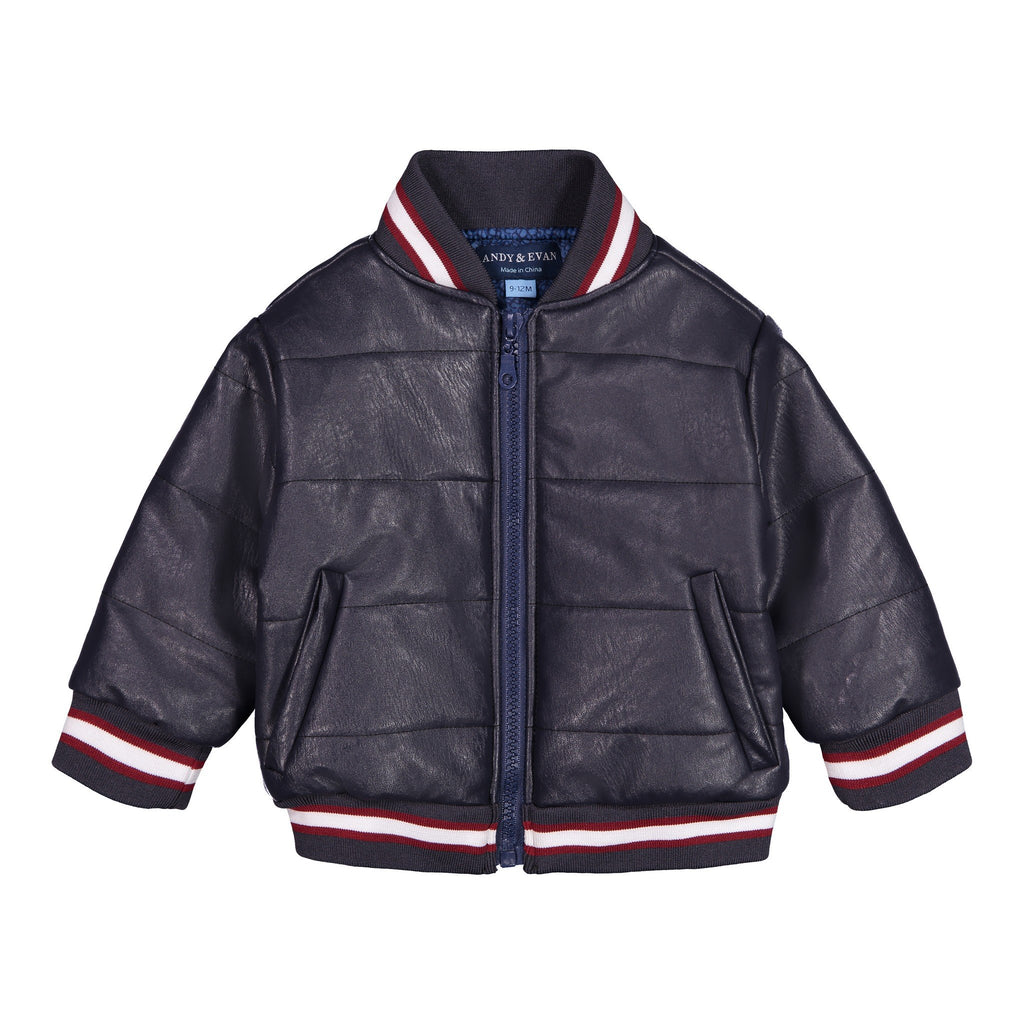 Faux Leather Bomber Jacket - Andy & Evan