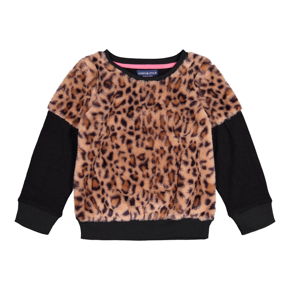 Leopard Faux Fur Sweatshirt - Andy & Evan