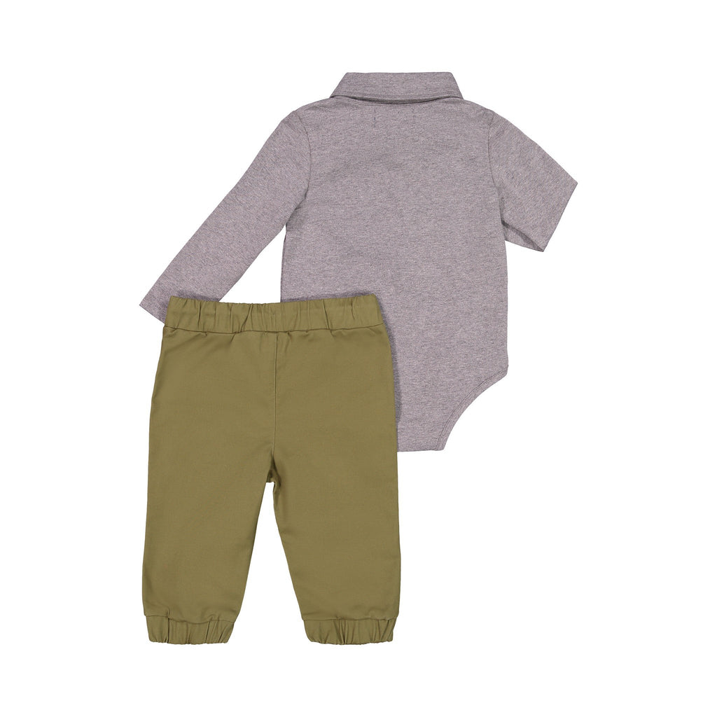 Dark Grey Casual Polo Shirtzie Set - Andy & Evan