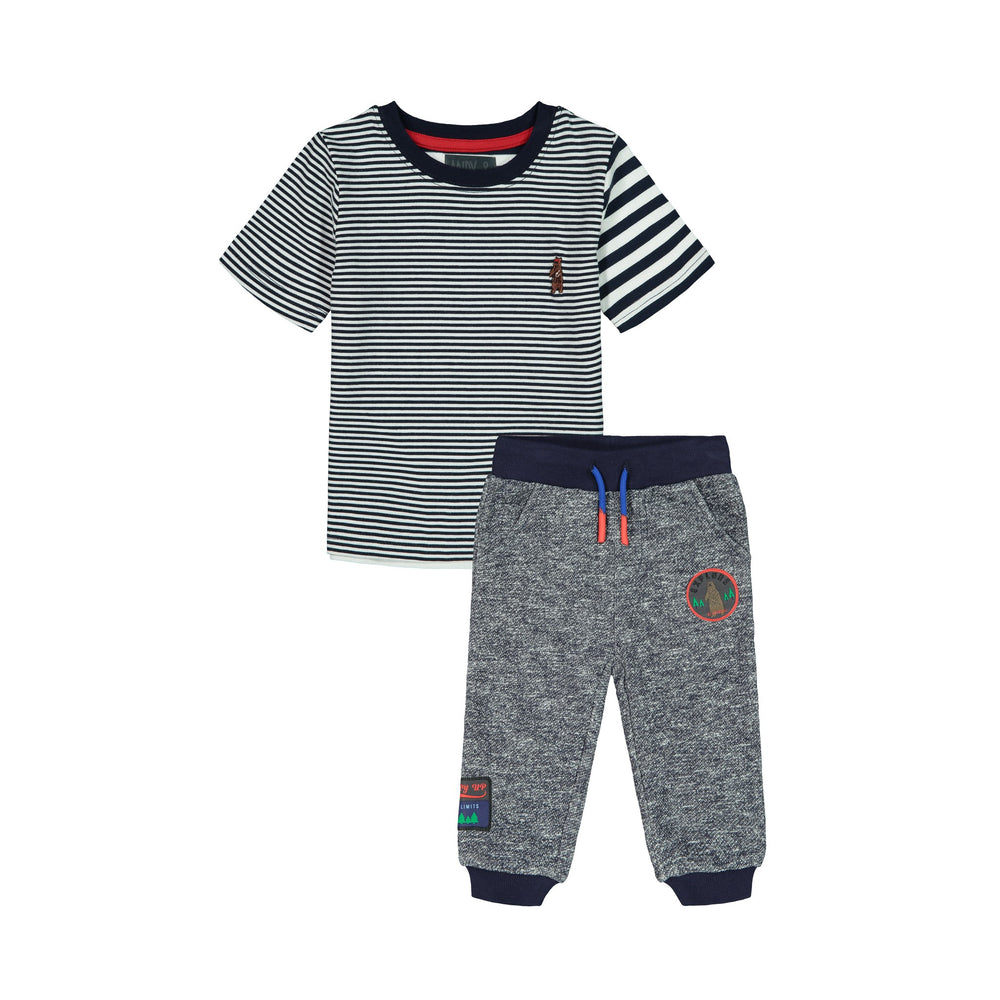 Navy Striped Tee & Jogger Set - Andy & Evan