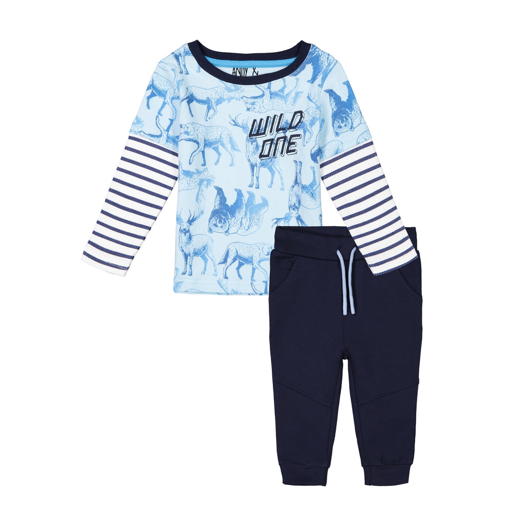 Blue Tee & Jogger Set - Andy & Evan