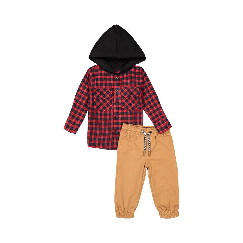 Red Flannel Hoodie & Jogger Set - Andy & Evan