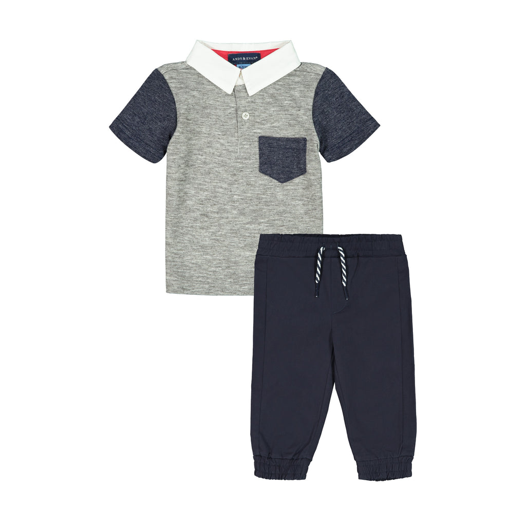 Grey Polo & Jogger Set - Andy & Evan