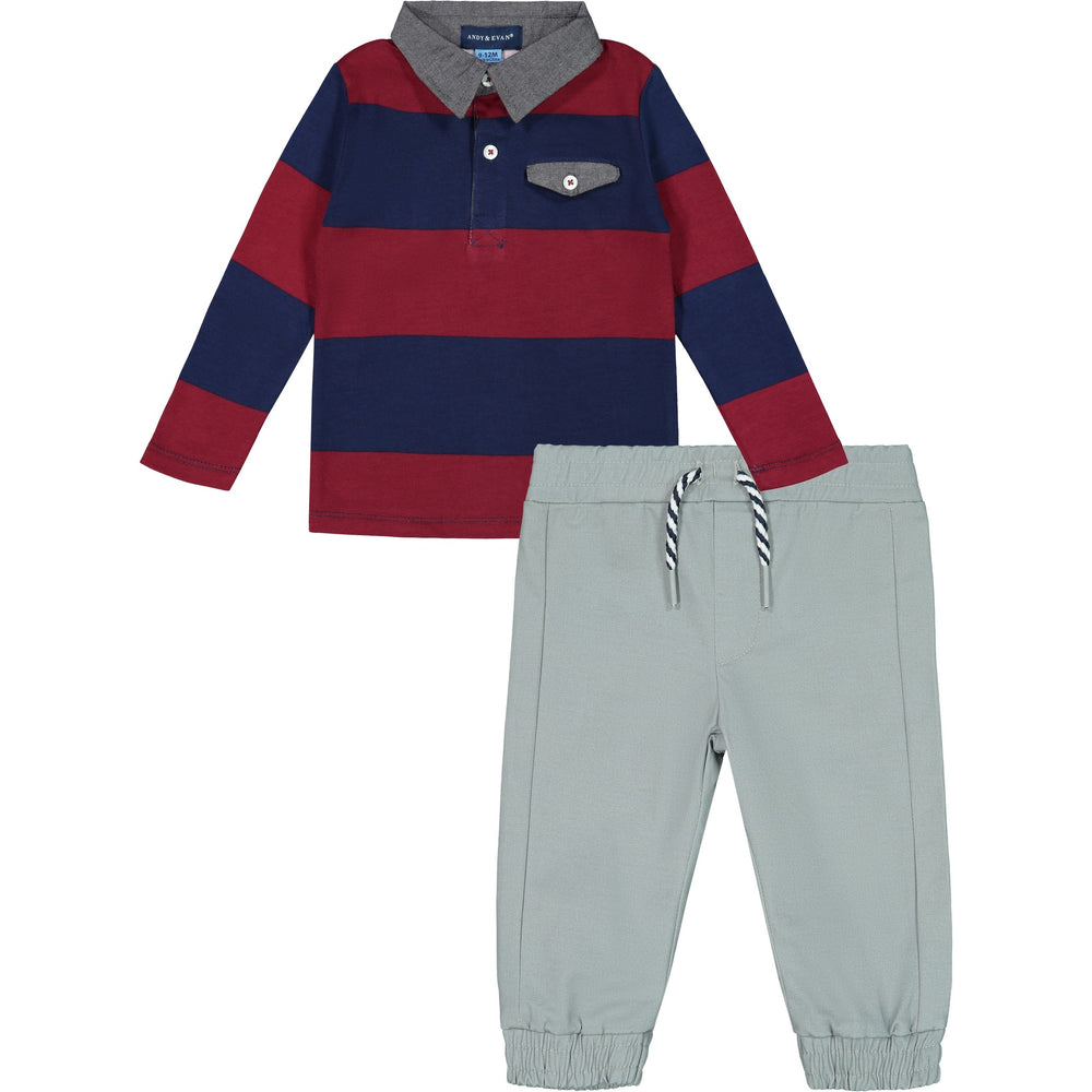 Red Striped Polo & Jogger Set - Andy & Evan