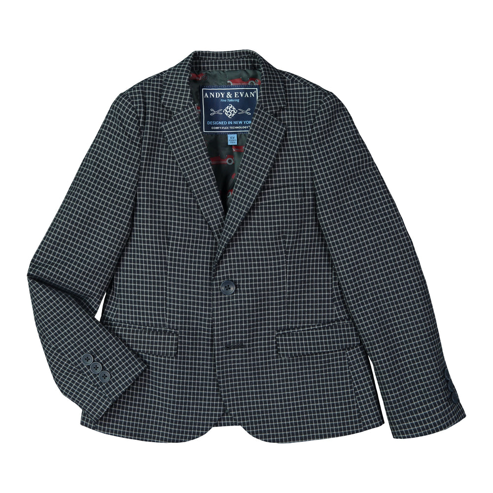 Deep Navy Check Blazer Set with Grey Dress Pants - Andy & Evan
