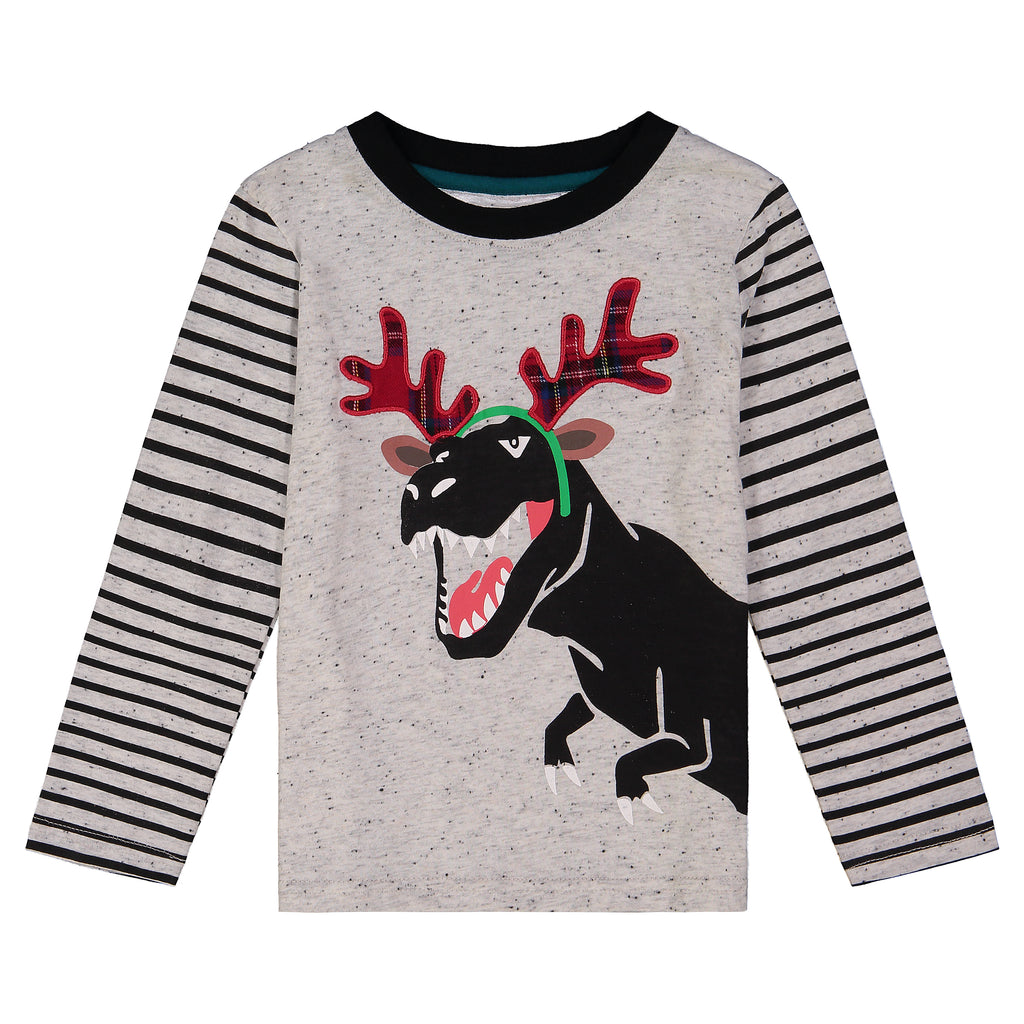 Boys White And Striped Long Sleeve Tee With Dinosaurprint - Andy & Evan