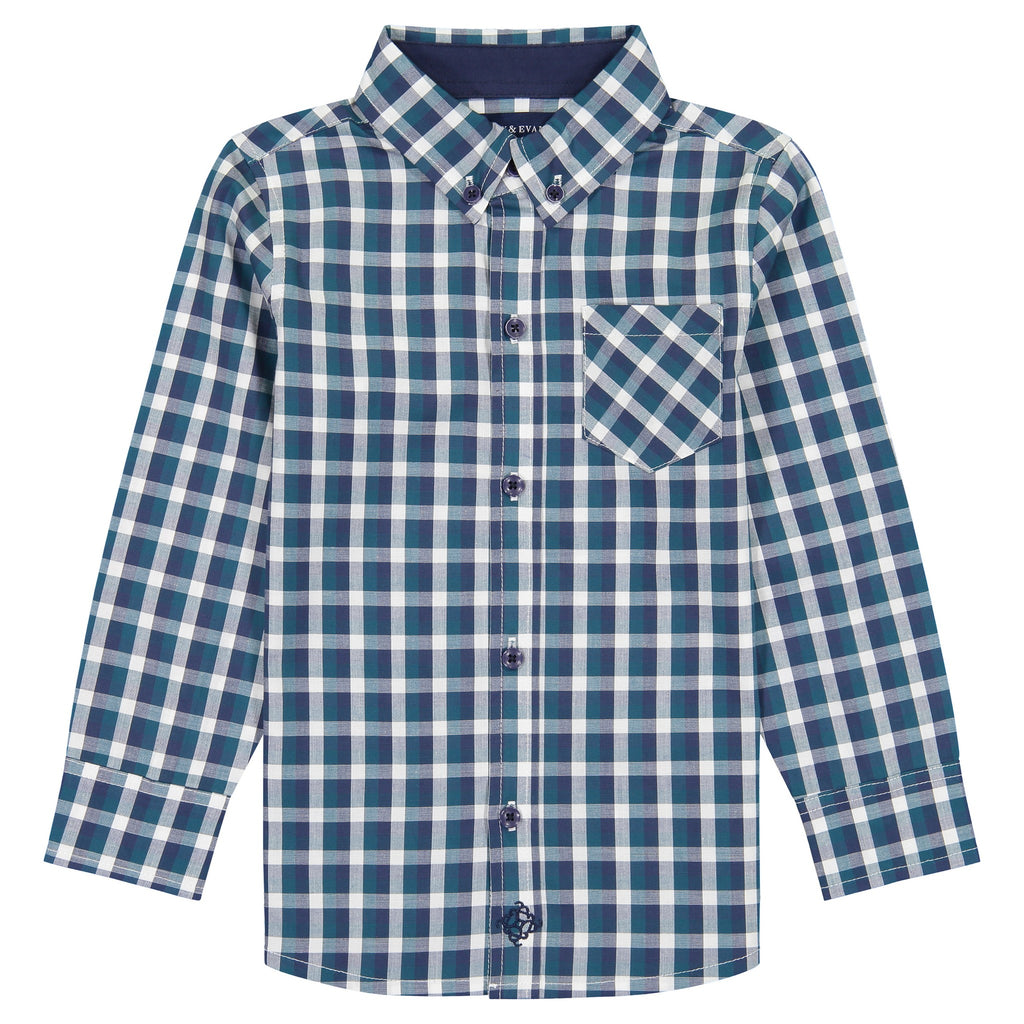 Green Plaid Long Sleeve Button Down Shirt - Andy & Evan
