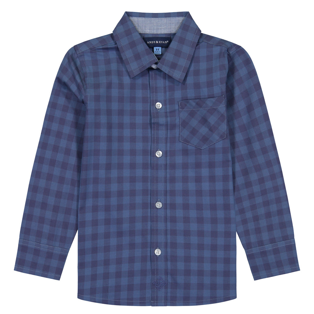 Boys Royal Blue Checkered Button Down - Andy & Evan
