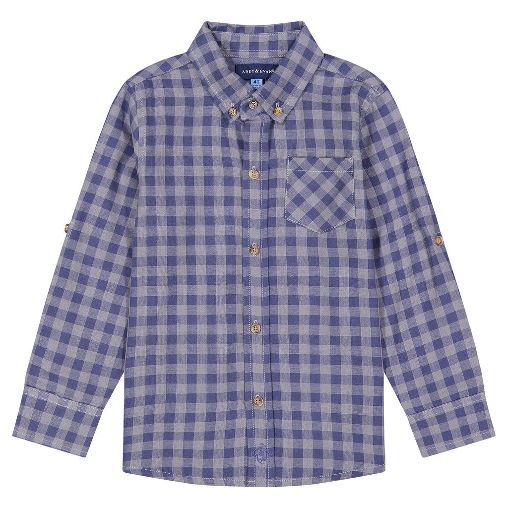 Boys Two-Faced, White And Dark Brown Checker Print Long Sleeve Button Down Shirt - Andy & Evan