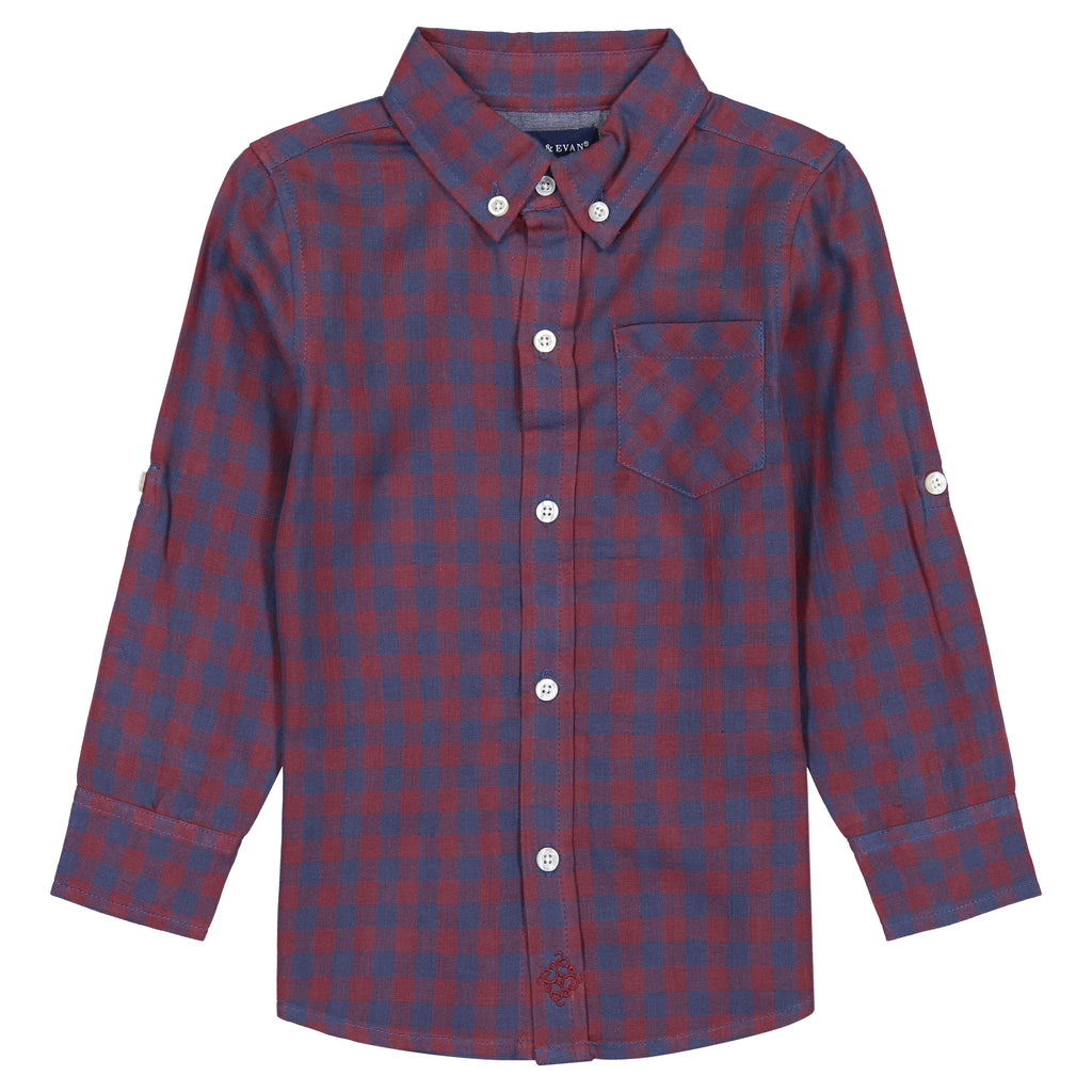 Boys Two-Faced, Red Checker Print Long Sleeve Button Down Shirt - Andy & Evan