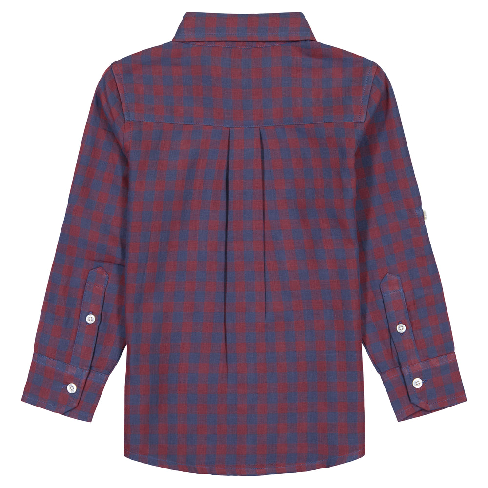 Boys Double-Faced Red Checker Print Long Sleeve Button Down Shirt - Andy & Evan