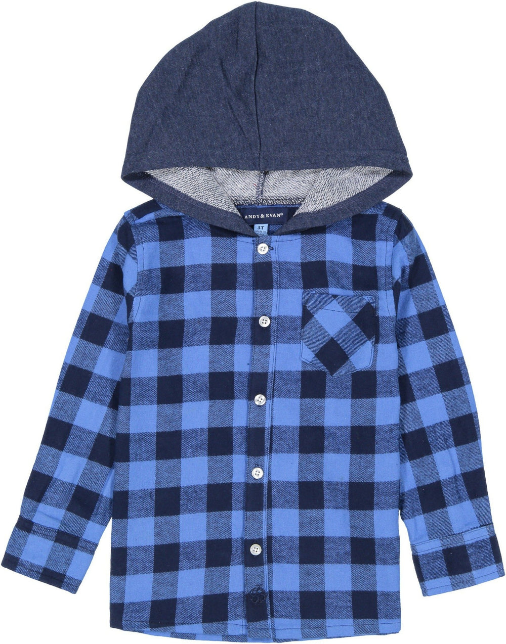 Boys Dark Blue Checked Button Down Hoodie - Andy & Evan